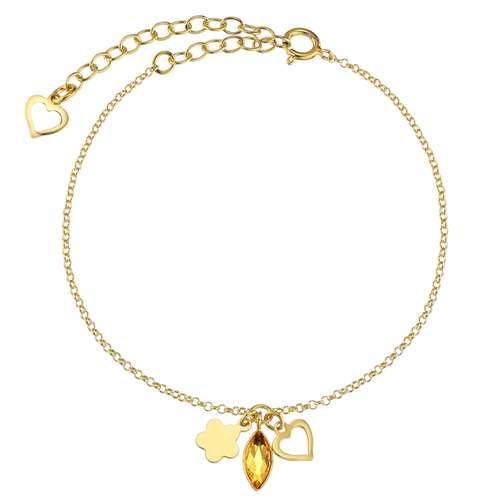 Silber-Armkettchen Silber 925 PVD Beschichtung (goldfarbig) Swarovski Kristall