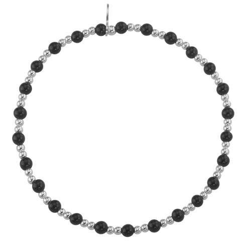 Silber-Armkettchen Silber 925 Schwarzer Onyx