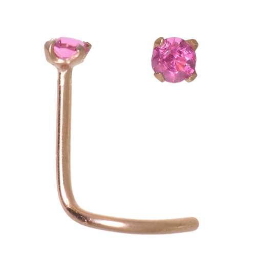 Nasenpiercing Chirurgenstahl 316L PVD Beschichtung (goldfarbig) Kristall