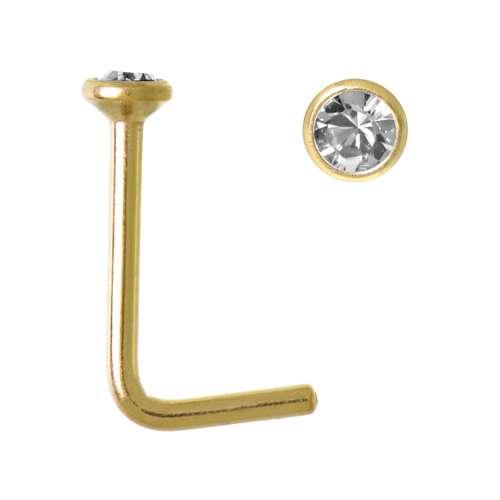 Piercing per naso Metallo chirurgico 316L Rivestimento PVD (colore oro) Cristallo Swarovski