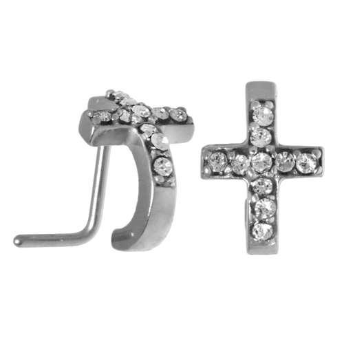 Nasenpiercing Chirurgenstahl 316L Kristall Kreuz