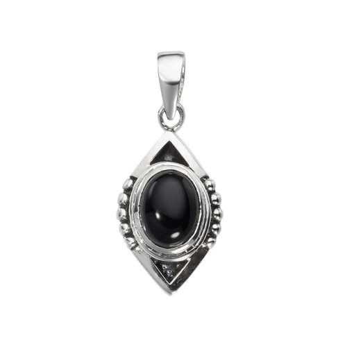 Stein-Anhänger Silber 925 Schwarzer Onyx Tribal_Zeichnung Tribal_Muster