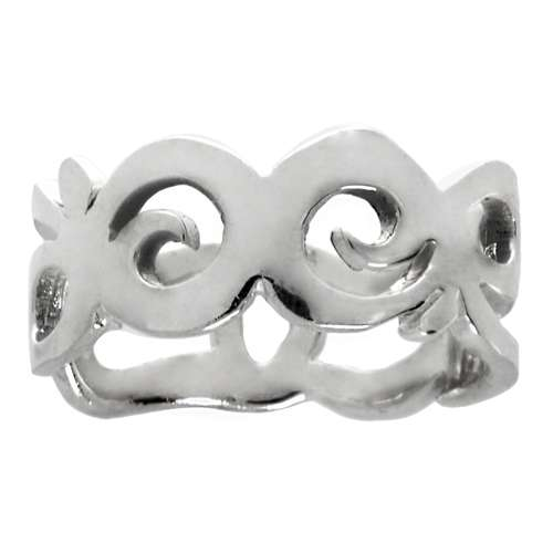 Bague de doigt Argent 925 Vague Onde Lame Dessin_tribal Motif_tribal