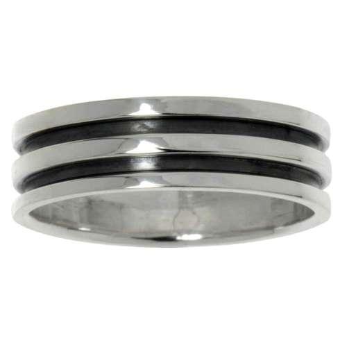 Fingerring Silber 925 Streifen Rillen Linien