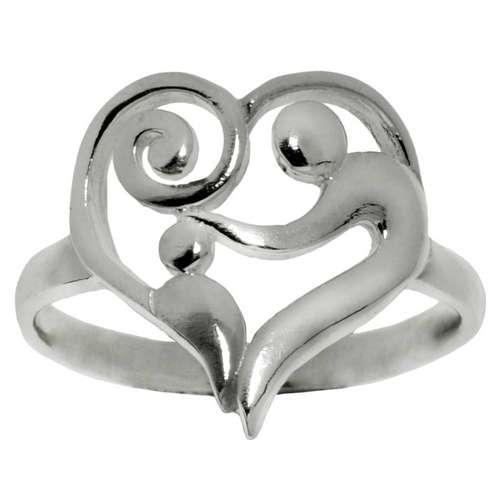 Bague de doigt Argent 925 Coeur C?ur Amour Spirale