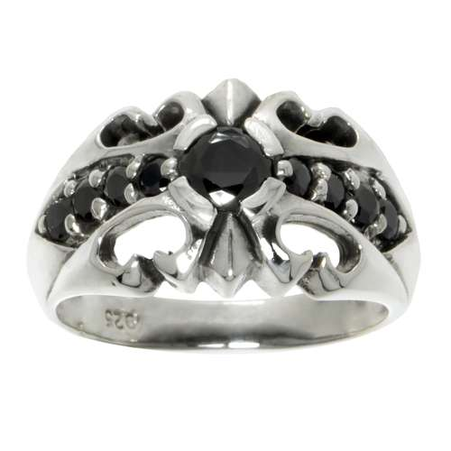 Ring Silver 925 Crystal Tribal_pattern Cross Leaf Plant_pattern