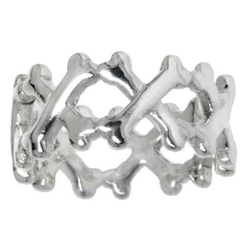 Fingerring Silber 925 Totenkopf Schädel Knochen