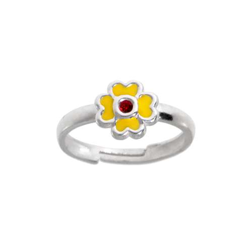 Kinder Ring Silber 925 Kristall Email Blume