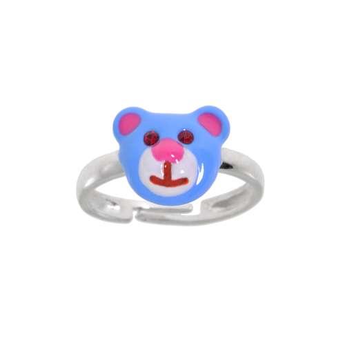 Kinder Ring Silber 925 Kristall Email Bär Bärchen Teddy