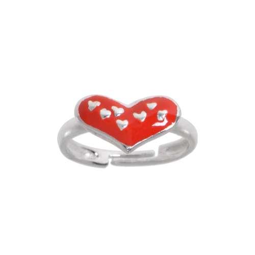 Kinder Ring Silber 925 Email Herz Liebe