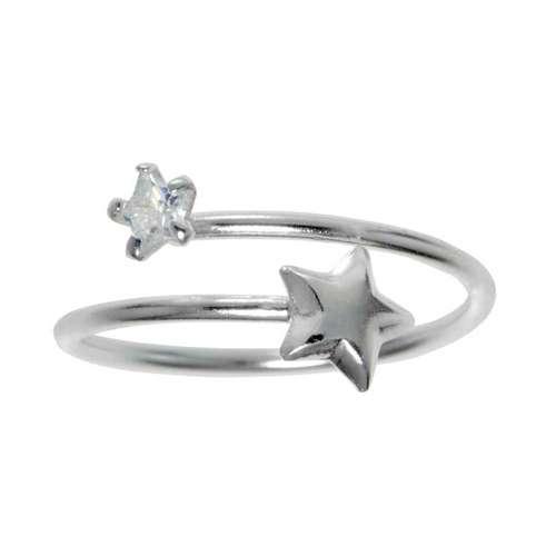 Bague enfants Argent 925 Cristal Étoile Spirale
