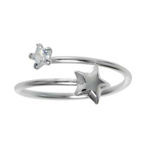 Kinder Ring Silber 925 Kristall Stern Spirale