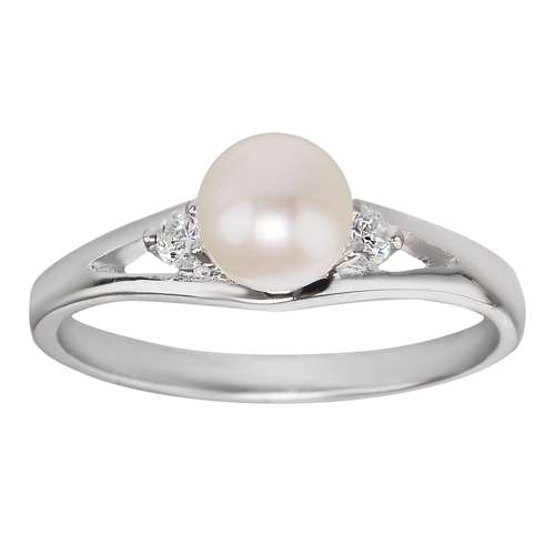 Anillo Plata 925 Perla de agua dulce Cristal