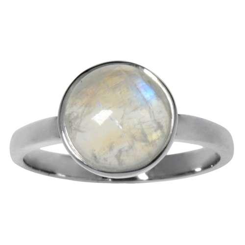 Bague de doigt Argent 925 Pierre de lune arc-en-ciel