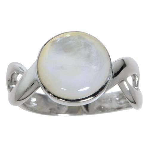 Silberring rhodiniertes Silber 925 Perlmutter Ewig Schlaufe Endlos