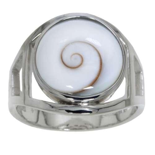 Silberring rhodiniertes Silber 925 Shiva´s Eye Muschel Spirale