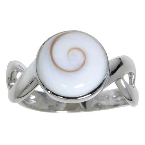 Silberring rhodiniertes Silber 925 Shiva´s Eye Muschel Spirale Ewig Schlaufe Endlos