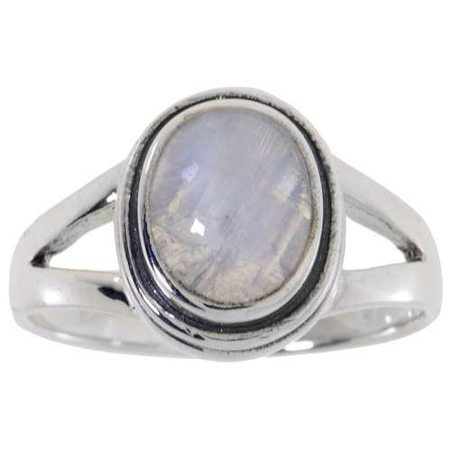 Fingerring Silber 925 Weisser Mondstein