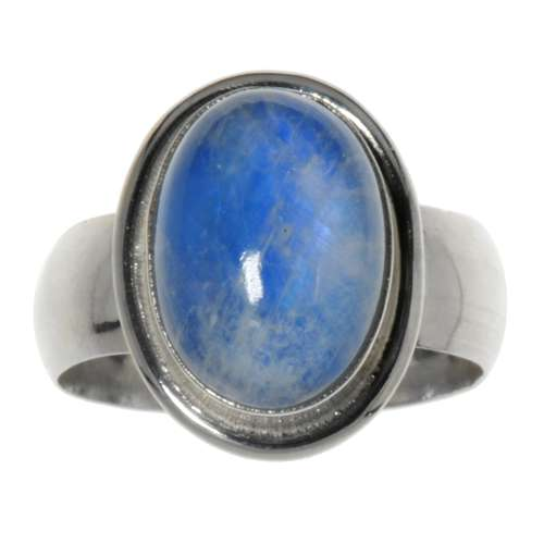 Bague de doigt Argent 925 Pierre de lune bleue