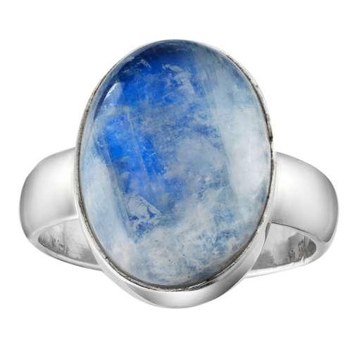 Fingerring Silber 925 Blauer Mondstein