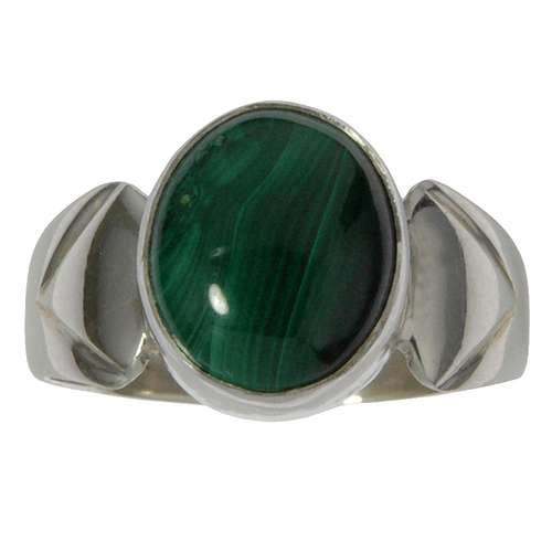 Anello Argento 925 Malachite Striatura Banda Incavo Triangolo Trilatero