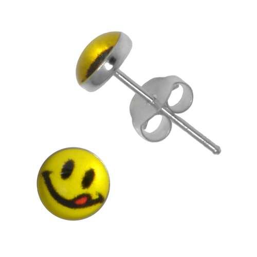Ohrstecker Silber 925 Epoxiharz Smiley Smilie Smily