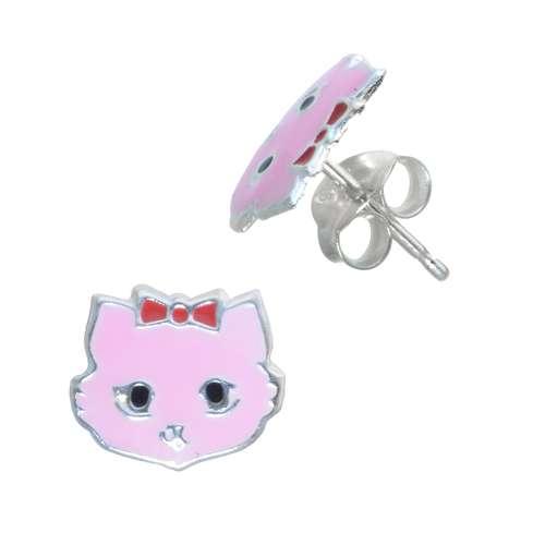 Kinder Ohrringe Silber 925 Email Katze Kater