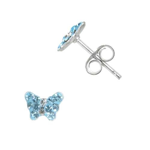 Kinder Ohrringe Silber 925 Kristall Schmetterling Sommervogel
