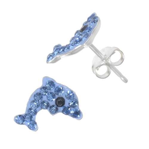 Kinder Ohrringe Silber 925 Kristall Delphin Delfin