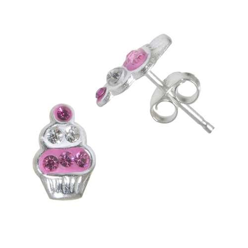 Kinder Ohrringe Silber 925 Kristall Email