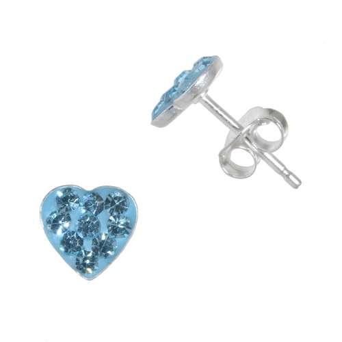 Kinder Ohrringe Silber 925 Kristall Herz Liebe