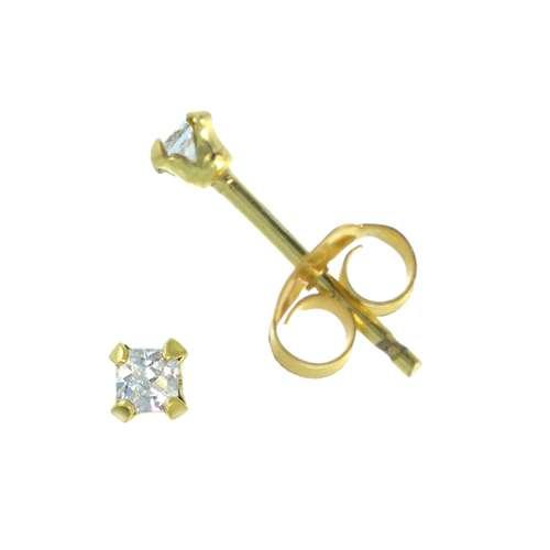 Ohrstecker Silber 925 Gold-Beschichtung (vergoldet) Zirkonia