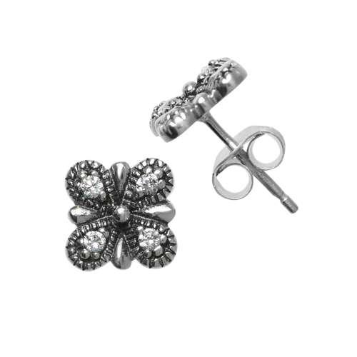 Ohrstecker Silber 925 Zirkonia Blume Blatt Pflanzenmuster Florales_Muster