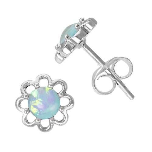 Orecchini Argento 925 Synthetic opal Fiore