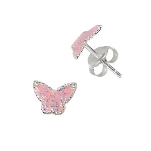 Kinder Ohrringe Silber 925 Epoxiharz Schmetterling Sommervogel