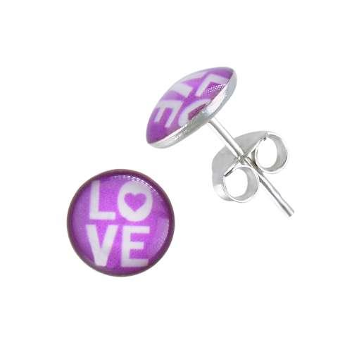 Kinder Ohrringe Silber 925 Epoxiharz Love Liebe Herz Liebe