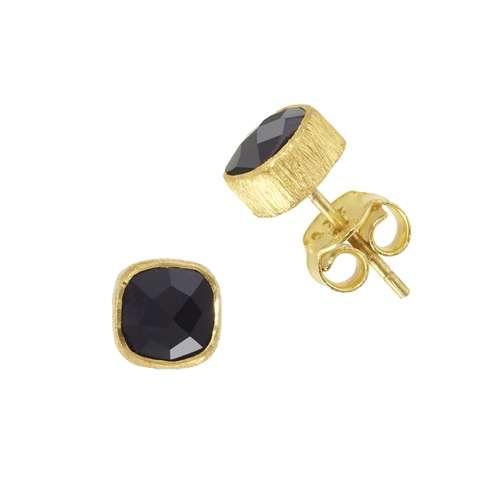 Protsaah Ohrstecker Silber 925 Gold-Beschichtung (vergoldet) Schwarzer Onyx