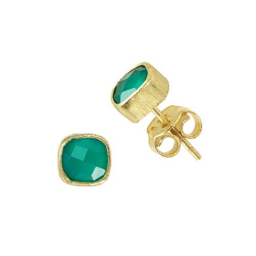 Shrestha Designs Ohrstecker Silber 925 Gold-Beschichtung (vergoldet) Grüner Onyx