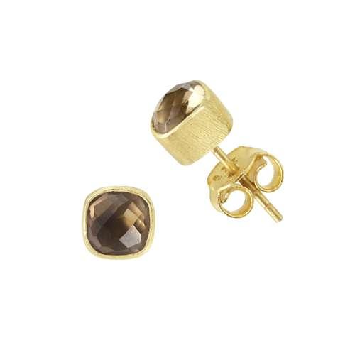 Shrestha Designs Ohrstecker Silber 925 Gold-Beschichtung (vergoldet) Rauchquarz