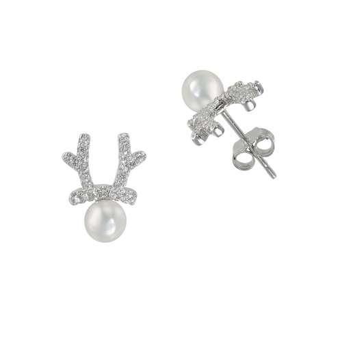 Orecchini Argento 925 Zircone Perle di acqua dolce Pelame Manto Animal_Print