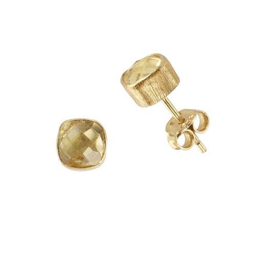 Shrestha Designs Ohrstecker Silber 925 Gold-Beschichtung (vergoldet) Gelber Citrin