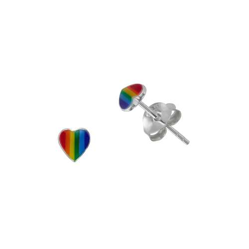 Ohrstecker Silber 925 Epoxiharz Herz Liebe Regenbogen