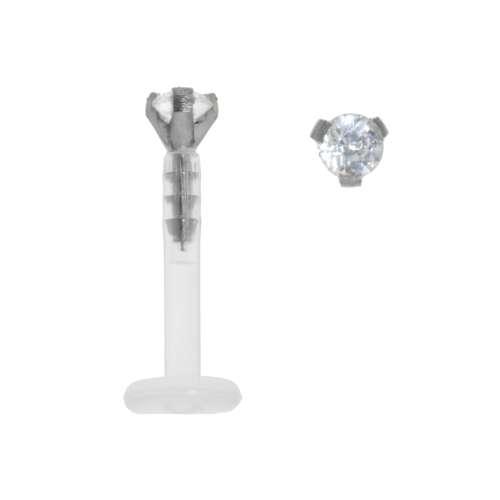 Piercingstab Bioplast Titan Kristall