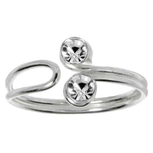 Zehenring Silber 925 Kristall Ewig Schlaufe Endlos