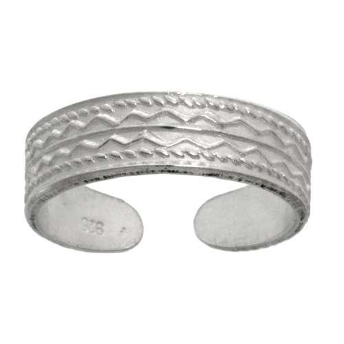Zehenring Silber 925 Tribal_Zeichnung Tribal_Muster Streifen Rillen Linien Welle