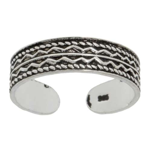 Zehenring Silber 925 Tribal_Zeichnung Tribal_Muster Welle Streifen Rillen Linien