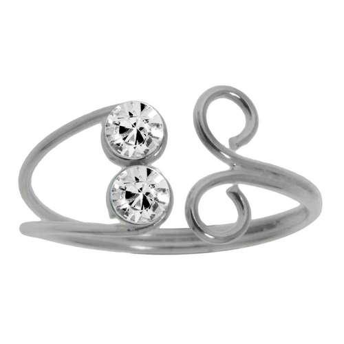 Zehenring Silber 925 Kristall Spirale Ewig Schlaufe Endlos