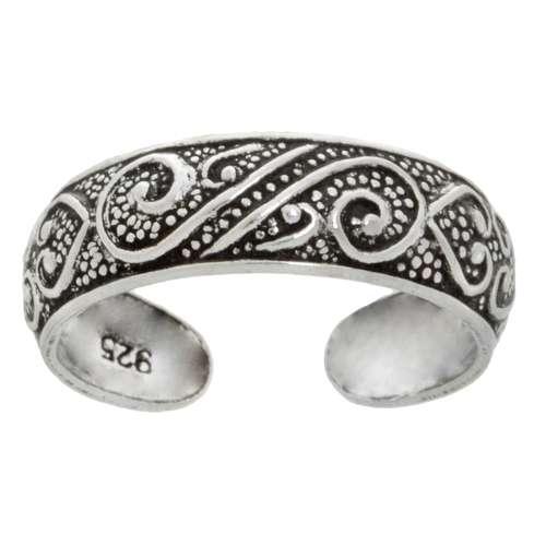 Zehenring Silber 925 Welle Tribal_Zeichnung Tribal_Muster Spirale