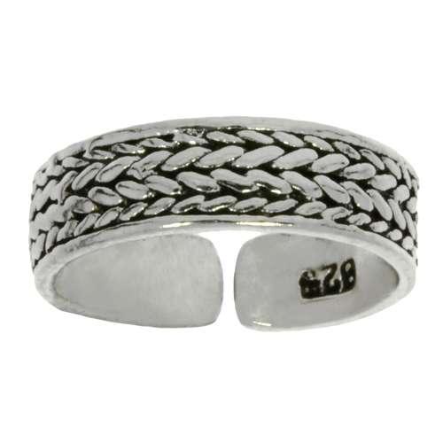 Zehenring Silber 925 Ewig Schlaufe Endlos Tribal_Zeichnung Tribal_Muster Streifen Rillen Linien