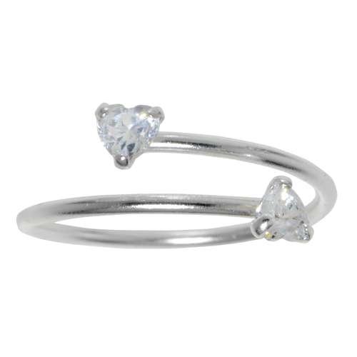 Zehenring Silber 925 Kristall Herz Liebe Spirale